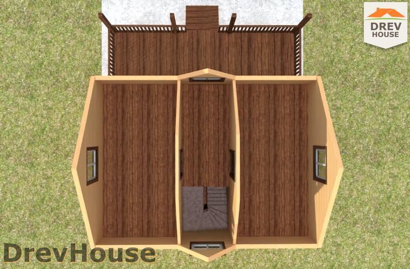 Вид изнутри 2 этажа проекта полутораэтажного дома из бруса ДБ-94