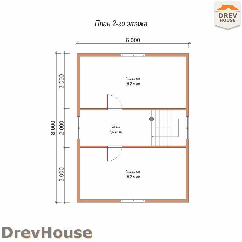 План 2 этажа полутораэтажного дома из бруса ДБ-94