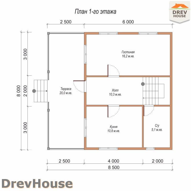 План 1 этажа полутораэтажного дома из бруса ДБ-94