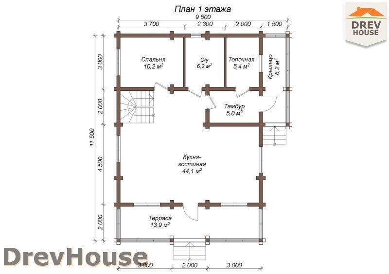 План 1 этажа полутораэтажного коттеджа из бруса Эвелина