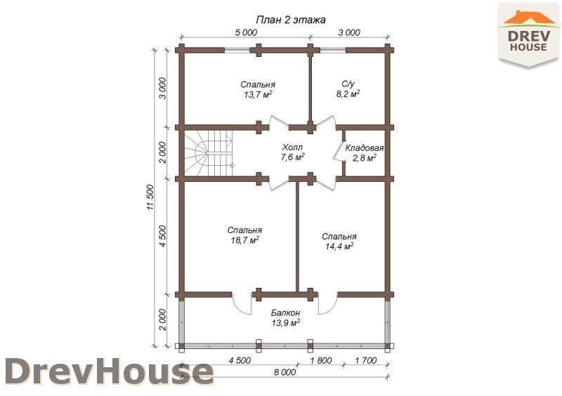 План 2 этажа полутораэтажного коттеджа из бруса Эвелина