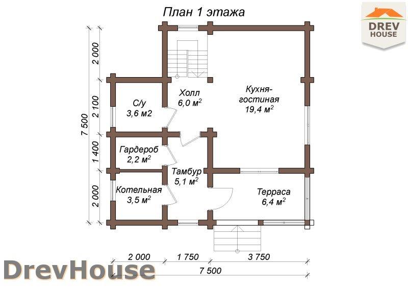 План 1 этажа полутораэтажного коттеджа из бруса Лион