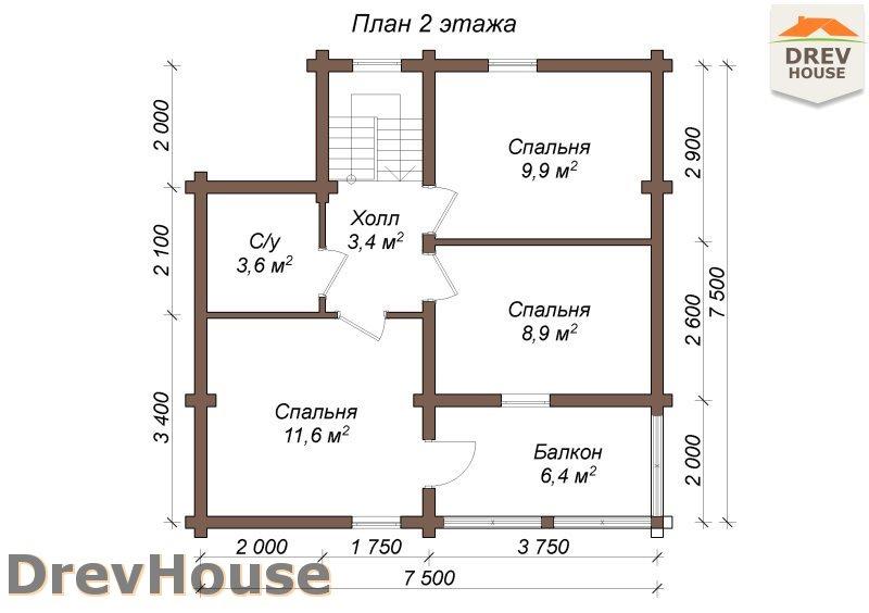 План 2 этажа полутораэтажного коттеджа из бруса Лион