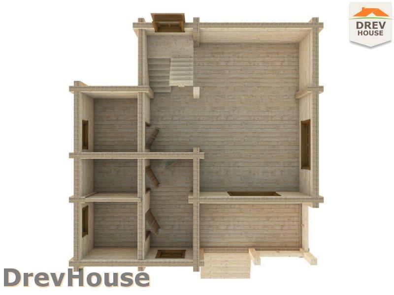 Вид изнутри 1 этажа проекта полутораэтажного коттеджа из бруса Лион