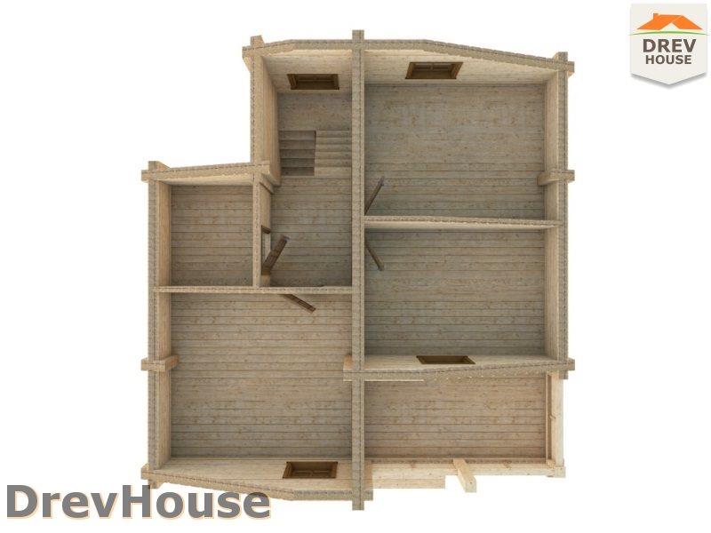 Вид изнутри 2 этажа проекта полутораэтажного коттеджа из бруса Лион