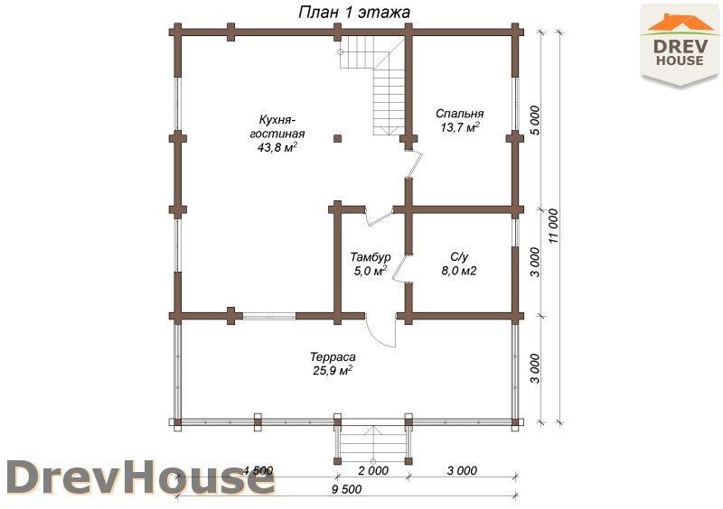 План 1 этажа полутораэтажного коттеджа из бруса Марсель
