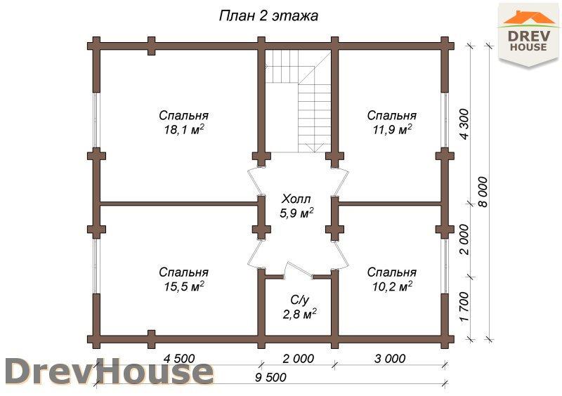 План 2 этажа полутораэтажного коттеджа из бруса Марсель