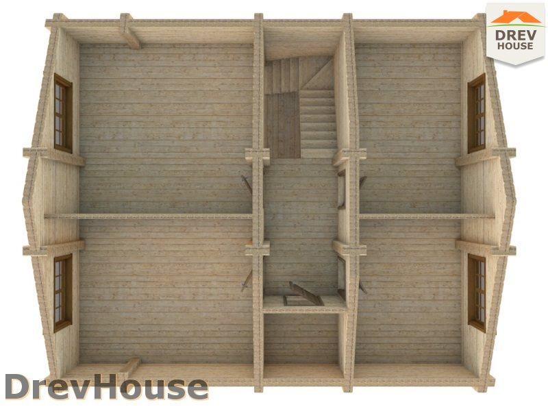 Вид изнутри 2 этажа проекта полутораэтажного коттеджа из бруса Марсель