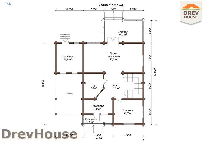 План 1 этажа полутораэтажного коттеджа из бруса Мелисса