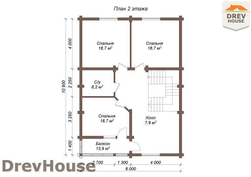 План 2 этажа полутораэтажного коттеджа из бруса Мелисса