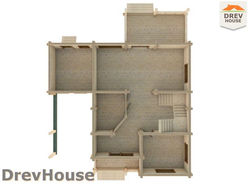 Вид изнутри 1 этажа проекта полутораэтажного коттеджа из бруса Мелисса