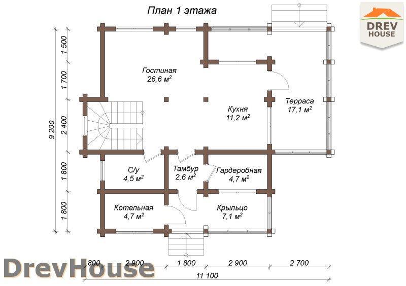План 1 этажа полутораэтажного коттеджа из бруса Венеция