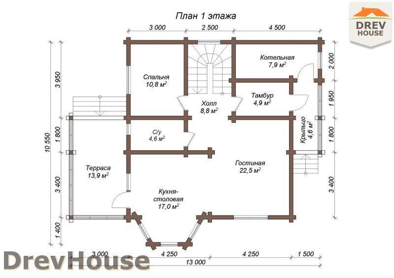 План 1 этажа полутораэтажного коттеджа из бруса Пьемонт