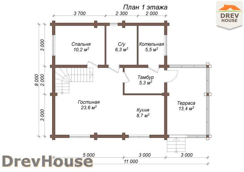 План 1 этажа полутораэтажного коттеджа из бруса Акрон