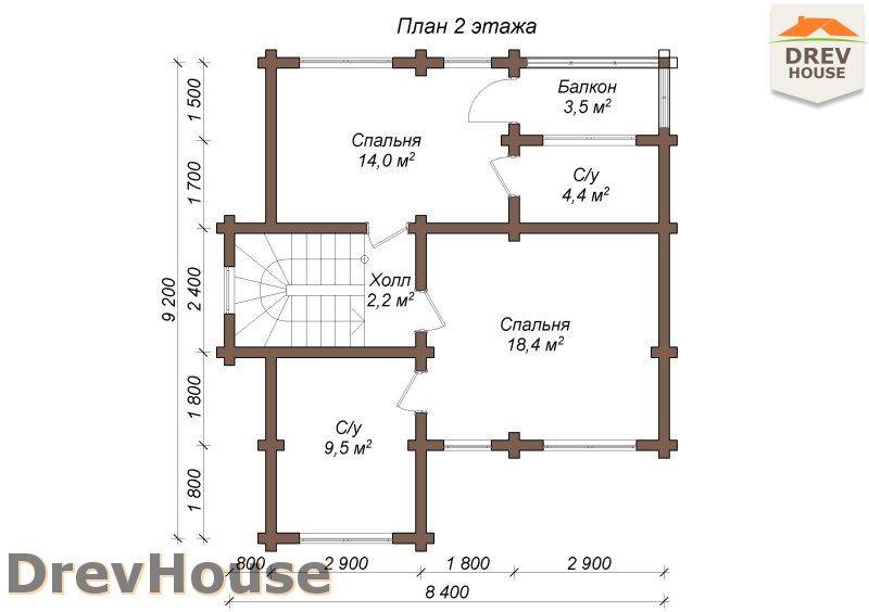 План 2 этажа полутораэтажного коттеджа из бруса Венеция