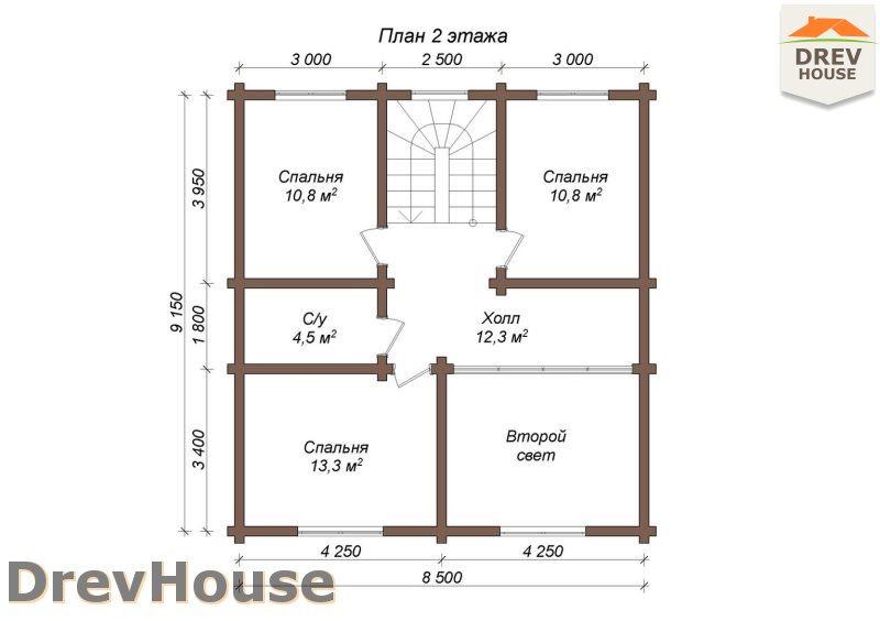 План 2 этажа полутораэтажного коттеджа из бруса Пьемонт