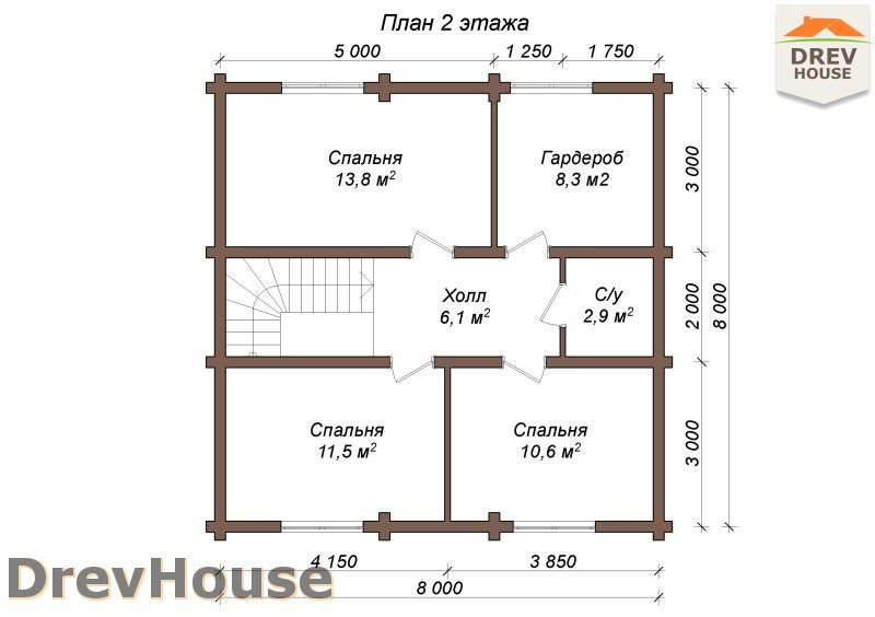 План 2 этажа полутораэтажного коттеджа из бруса Акрон