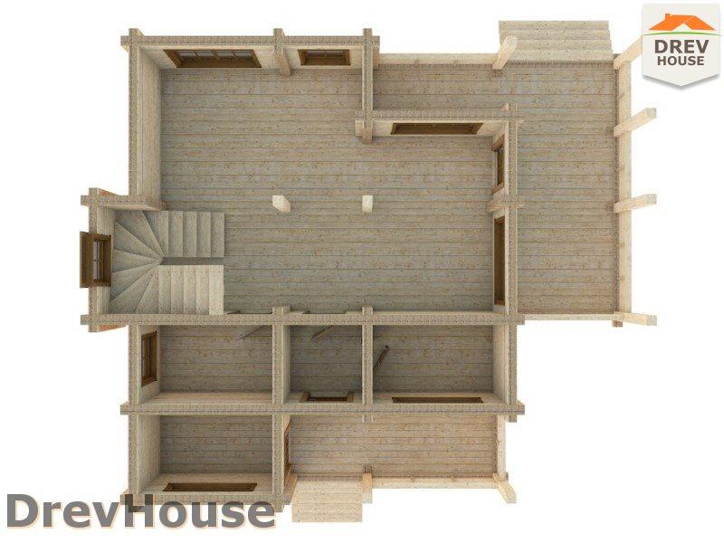 Вид изнутри 1 этажа проекта полутораэтажного коттеджа из бруса Венеция