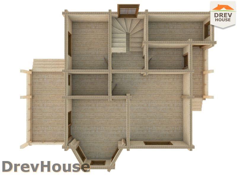 Вид изнутри 1 этажа проекта полутораэтажного коттеджа из бруса Пьемонт