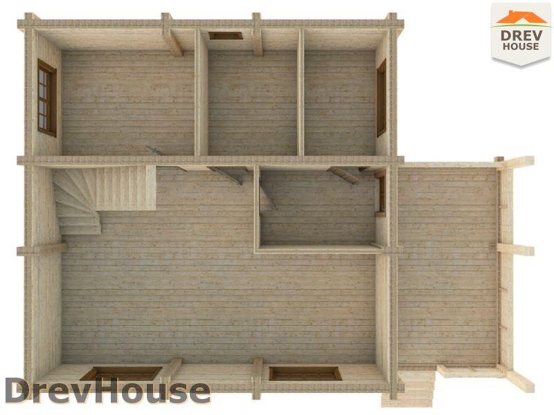 Вид изнутри 1 этажа проекта полутораэтажного коттеджа из бруса Акрон