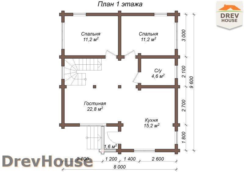 План 1 этажа полутораэтажного коттеджа из бруса Порту