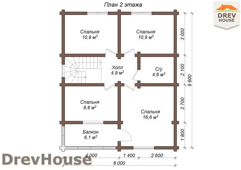 План 2 этажа полутораэтажного коттеджа из бруса Порту