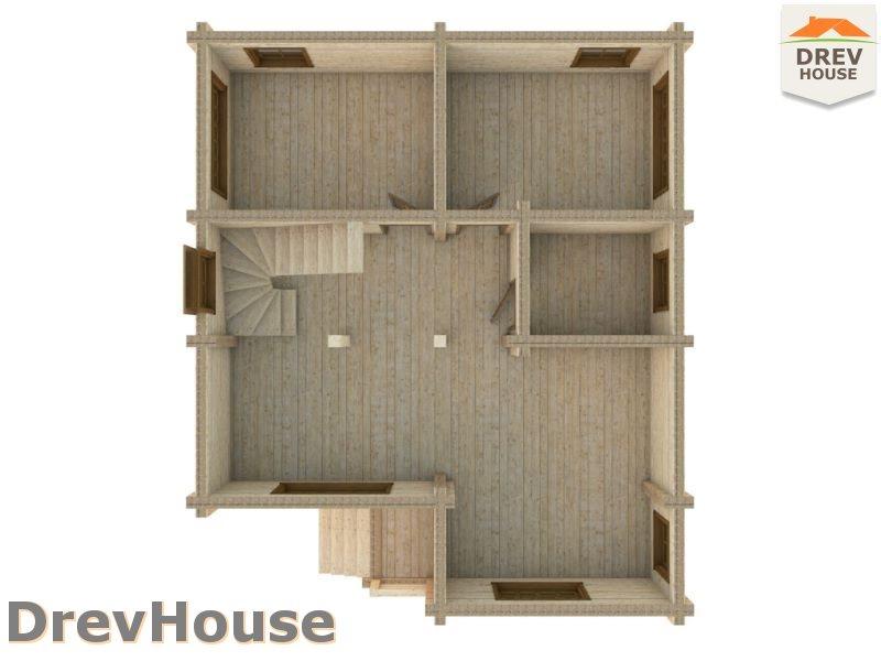 Вид изнутри 1 этажа проекта полутораэтажного коттеджа из бруса Порту