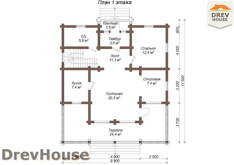 План 1 этажа полутораэтажного коттеджа из бруса Тоскана