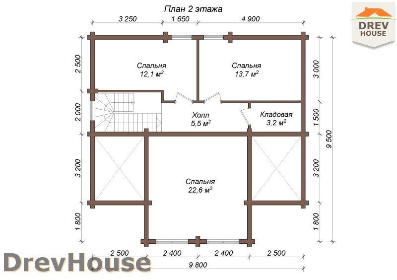 План 2 этажа полутораэтажного коттеджа из бруса Тоскана