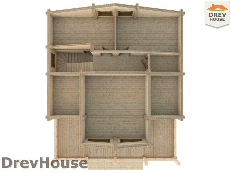 Вид изнутри 2 этажа проекта полутораэтажного коттеджа из бруса Тоскана