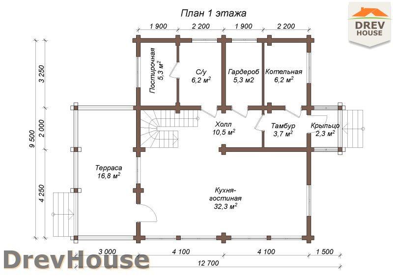 План 1 этажа полутораэтажного коттеджа из бруса Дижон