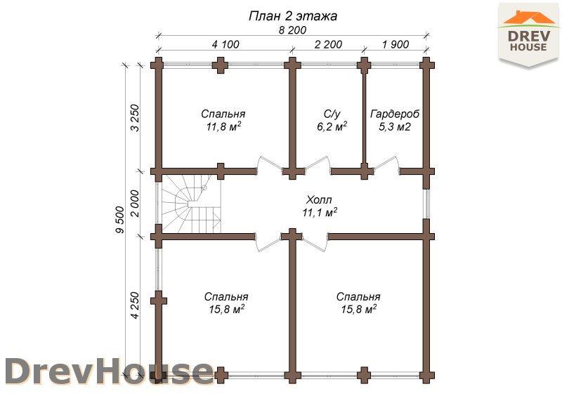 План 2 этажа полутораэтажного коттеджа из бруса Дижон