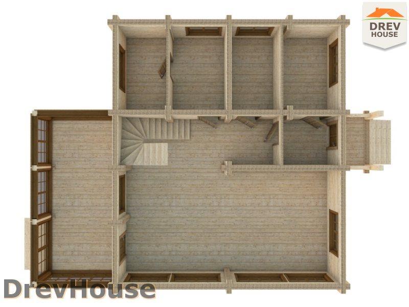 Вид изнутри 1 этажа проекта полутораэтажного коттеджа из бруса Дижон