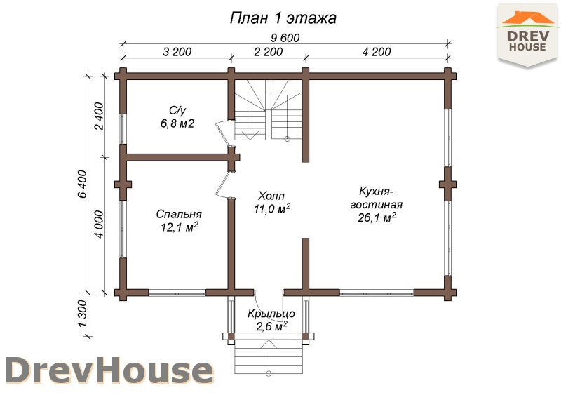 План 1 этажа полутораэтажного коттеджа из бруса Орлеан