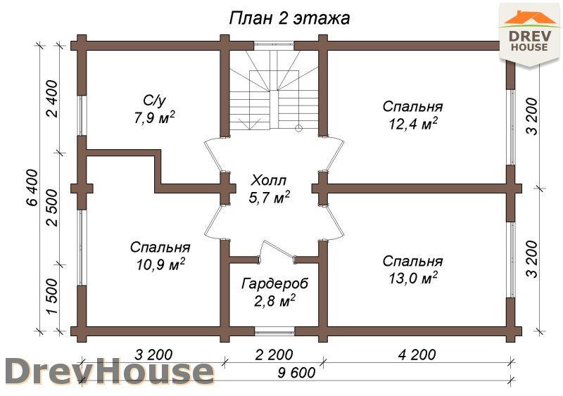 План 2 этажа полутораэтажного коттеджа из бруса Орлеан