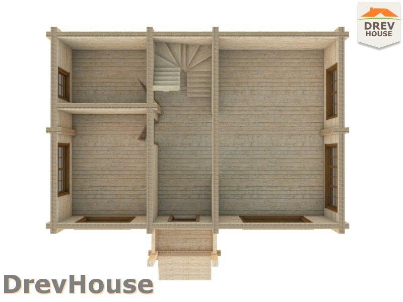 Вид изнутри 1 этажа проекта полутораэтажного коттеджа из бруса Орлеан
