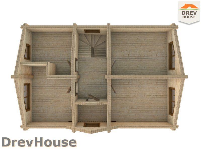 Вид изнутри 2 этажа проекта полутораэтажного коттеджа из бруса Орлеан