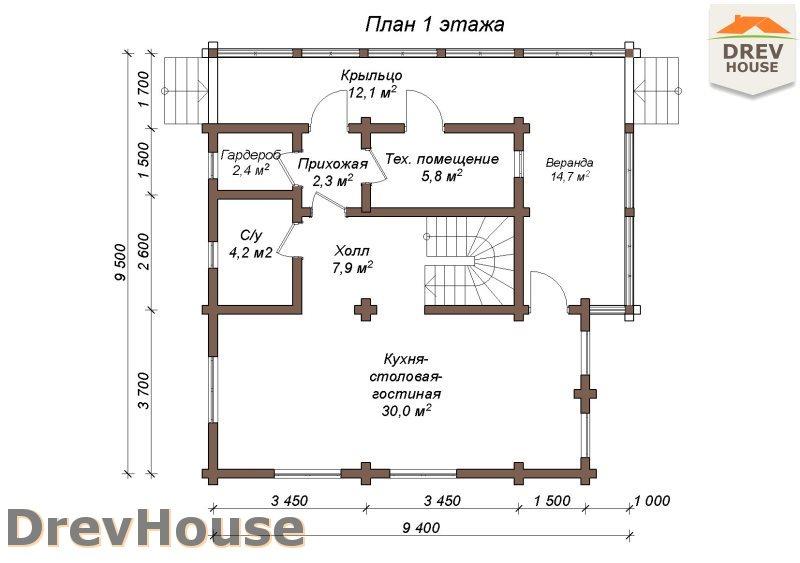 План 1 этажа полутораэтажного коттеджа из бруса Тулон