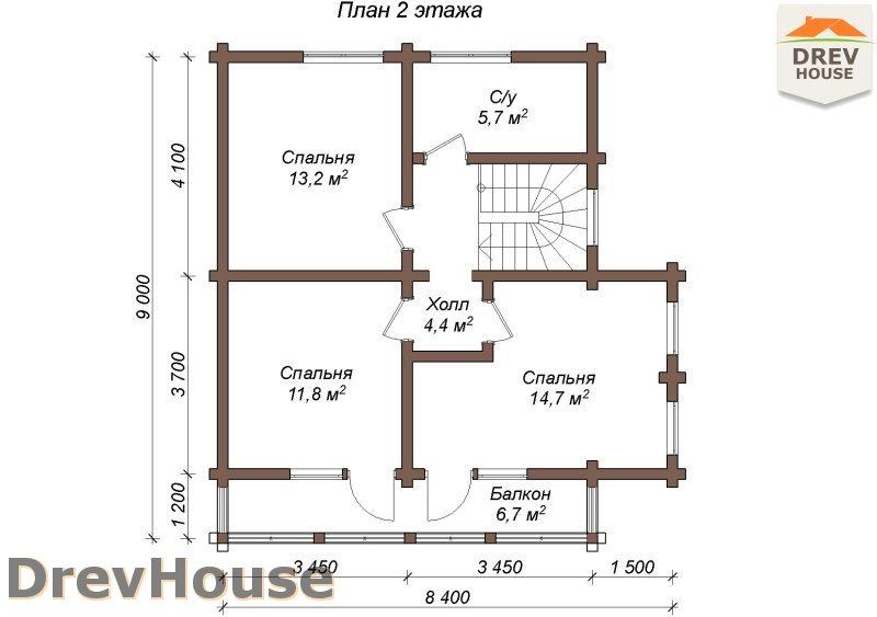 План 2 этажа полутораэтажного коттеджа из бруса Тулон