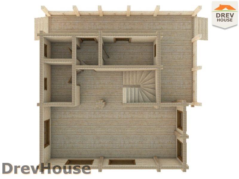 Вид изнутри 1 этажа проекта полутораэтажного коттеджа из бруса Тулон