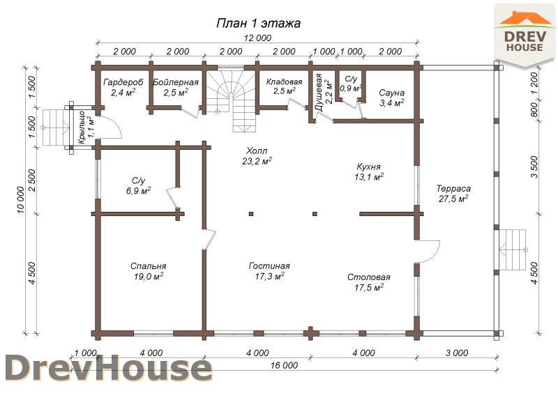 План 1 этажа полутораэтажного коттеджа из бруса Гранд
