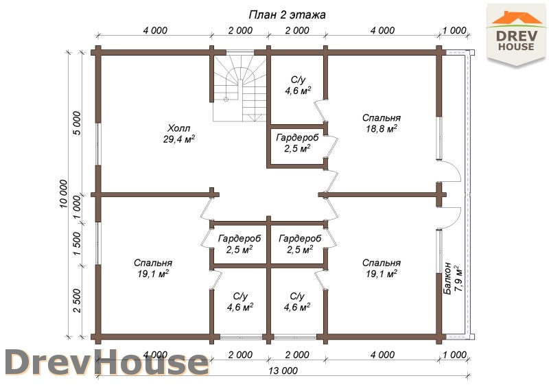 План 2 этажа полутораэтажного коттеджа из бруса Гранд