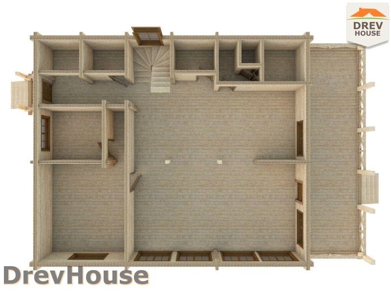 Вид изнутри 1 этажа проекта полутораэтажного коттеджа из бруса Гранд