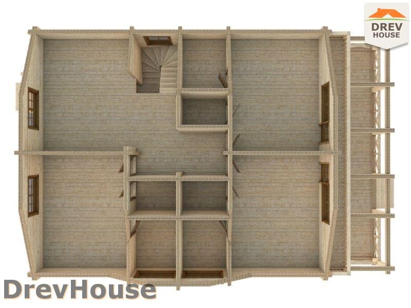 Вид изнутри 2 этажа проекта полутораэтажного коттеджа из бруса Гранд