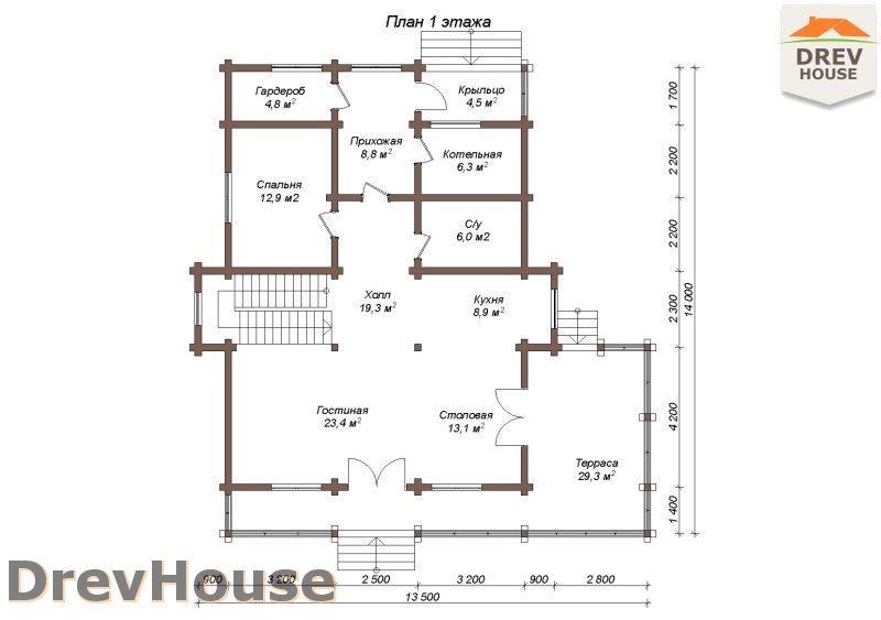 План 1 этажа полутораэтажного коттеджа из бруса Бофор
