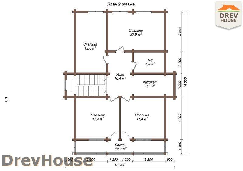 План 2 этажа полутораэтажного коттеджа из бруса Бофор