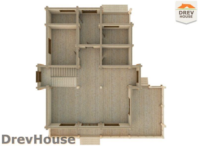 Вид изнутри 1 этажа проекта полутораэтажного коттеджа из бруса Бофор