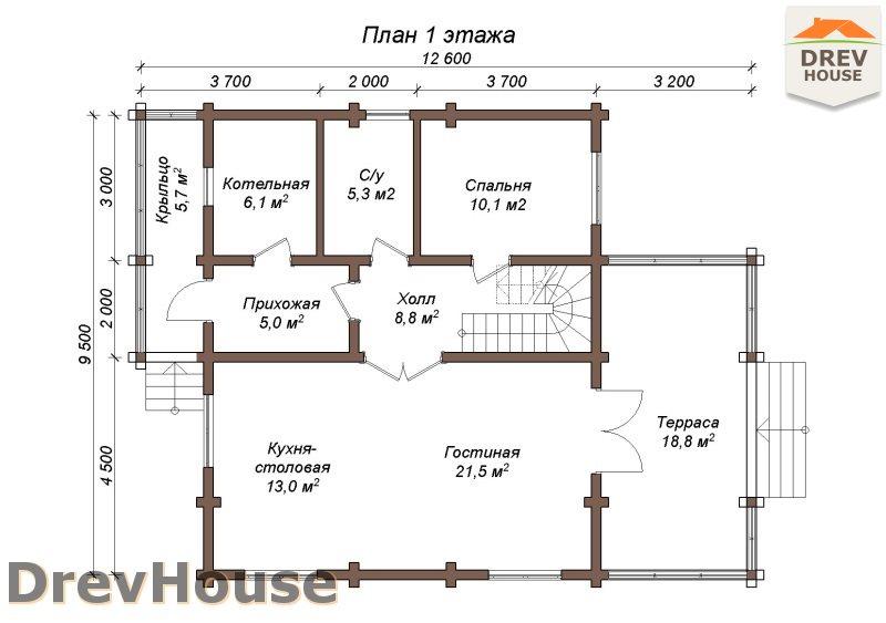 План 1 этажа полутораэтажного коттеджа из бруса Грандж