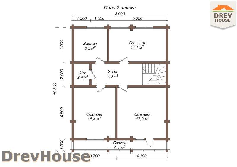 План 2 этажа полутораэтажного коттеджа из бруса Грандж