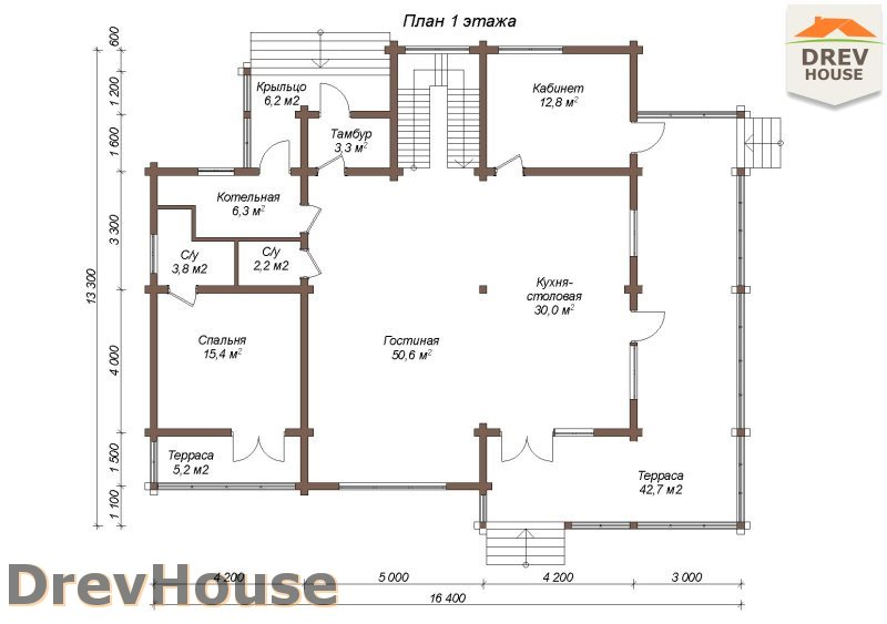 План 1 этажа полутораэтажного коттеджа из бруса Коломбо